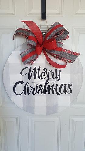 Christmas door hanger for front door,  Christmas front door wreath,  buffalo