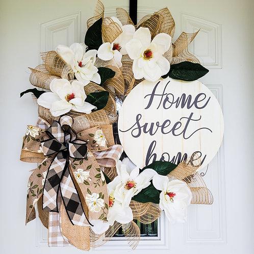 Magnolia Wreath, Home Sweet Home,Wreath for front door, Everyday Wreath