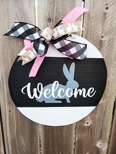 Spring door hanger for front door.  Welcome bunny door hanger for your front doo