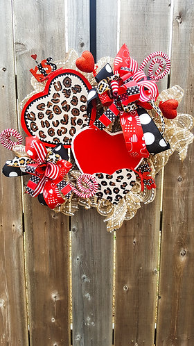 Valentine's wreath for your front door,  Valentine's wreath,  leopard wreath