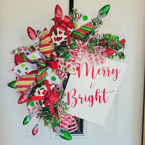 Christmas wreath,  Christmas front door,  holiday wreath for your door