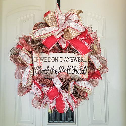 Baseball wreath, sports wreath for front door, summer wreath, baseball decor