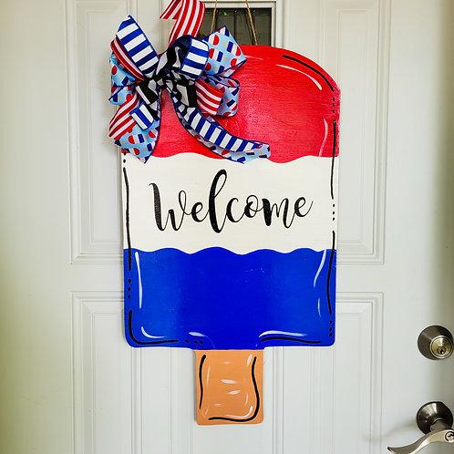 Summer popsicle door hanger, patriotic door hanger, popsicle door hanger, summer