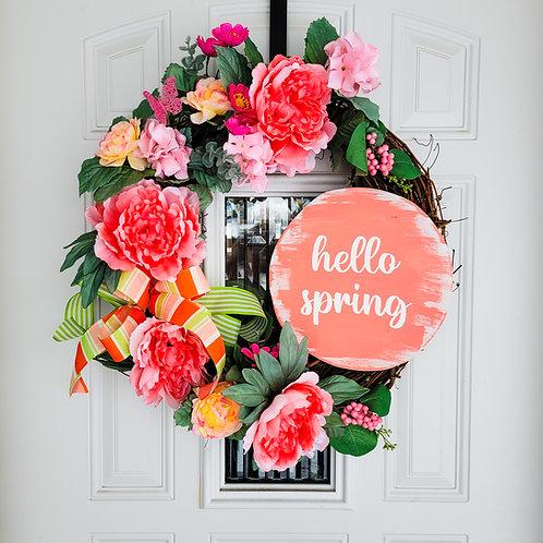 Spring wreath for front door,  front door wreath, spring door,  spring decor