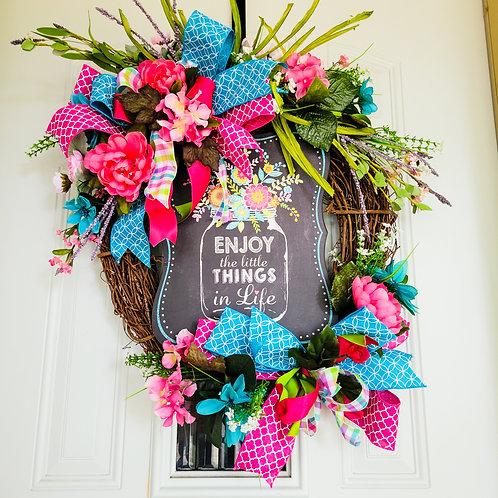 Spring Wreath for front door,  Rustic Spring Wreath