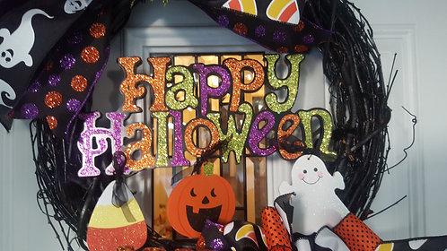 Halloween Wreath, Front door Wreath, Halloween Front door, Whimsical Halloween