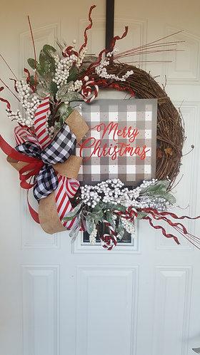 Christmas wreath for your front door,  Christmas wreath,  buffalo check wreath