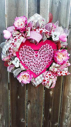 Valentine's wreath, Valentine's wreath for your front door,  heart wreath,  pink