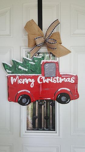 Christmas truck door hanger,  Christmas front door decor,  red truck door hanger