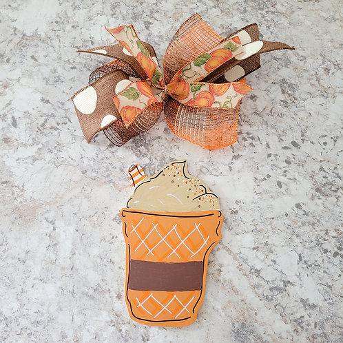 Pumpkin spice drink attachment, interchangeable wreath, attachement