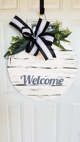 Everyday welcome door hanger, farmhouse door hanger, rustic white door hanger