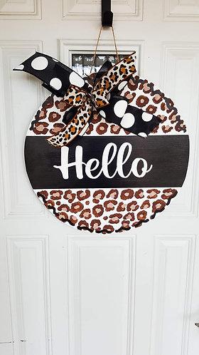 Leopard print door hanger, leopard print wreath, hello door hanger,  hello