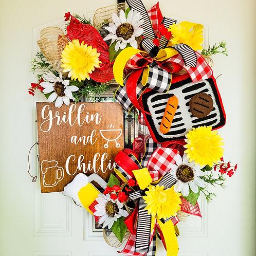 Summer wreath,  summertime door decor, summer door wreath