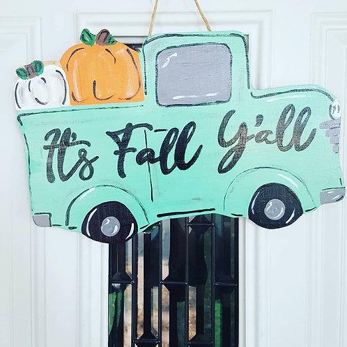 Fall truck door hanger, fall decor,  fall truck