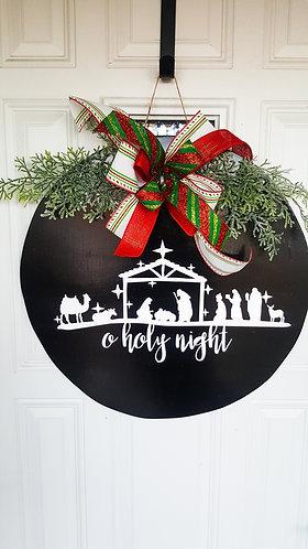 Christmas door hanger,  nativity scene door hanger,  holiday door, Christmas
