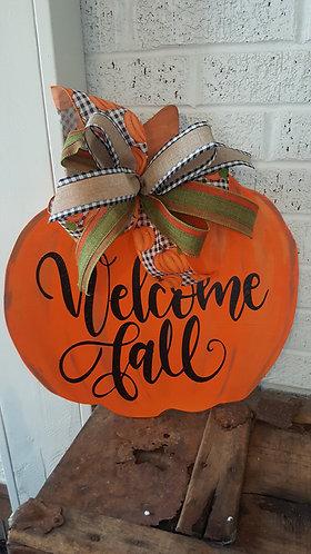 Pumpkin door hanger,  fall door hanger,  fall decor,  pumpkin wreath,  pumpkin