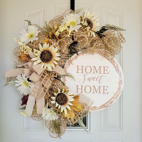 Everyday wreath,  neutral front door wreath,  home sweet home wreath