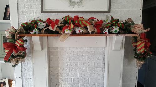 6ft ribbon garland,  mantle garland, Christmas garland