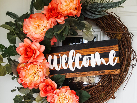 How to make a striped Welcome sign for a Spring Wreath to help with the Winter blues!