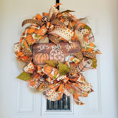 Fall Wreath,  fall leopard print wreath,  fall pumpkin wreath