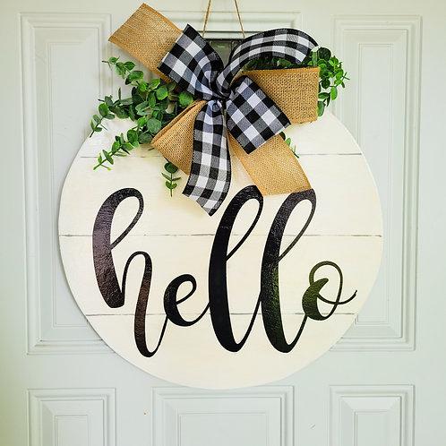 Hello door hanger, farmhouse hello door hanger, rustic door hanger