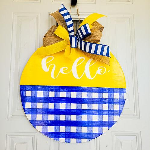 Hello door wreath, Buffalo plaid door hanger, blue and yellow wreath
