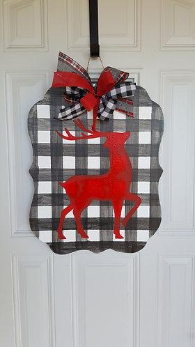 Christmas door hanger,  buffalo check wreath,  winter wreath,  winter front door