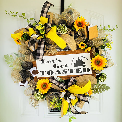 Summer wreath,  summertime wreath, smores wreath,  summer door wreath