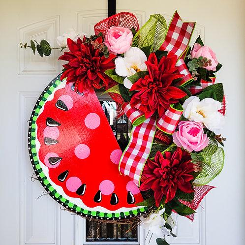 Watermelon wreath,  summer wreath for your door,  summer door wreath