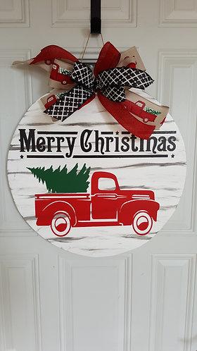 Christmas door hanger,  red truck decor, Christmas front door wreath,  Christmas