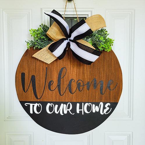 Everyday door hanger, black and white door wreath, welcome door hanger