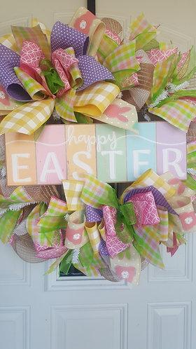 Spring Wreath for front door,  Happy Easter Wreath