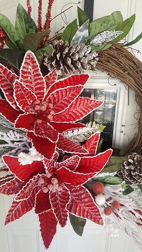 Beautiful poinsettia wreath, Christmas front door,  Christmas wreath,  red wreat
