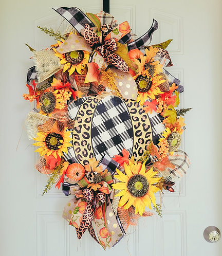 Fall buffalo check leopard print wreath, fall leopard decor, fall wreath for doo