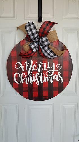 Christmas door hanger for front door,  buffalo check Christmas,  buffalo check