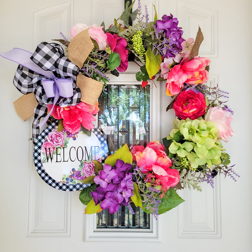 Summer Wreath, front door wreath, summer flowers, buffalo check, summer