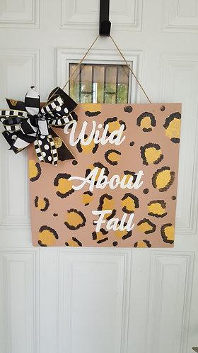 Fall Door Hanger,  fall decor for front door,  leopard print door hanger,  fall