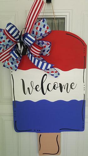 Popsicle Door Hanger, Summer door hanger, summer decor, summer door, patriotic