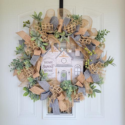 Everyday wreath,  Home sweet home,  wreath for door, front door wreath