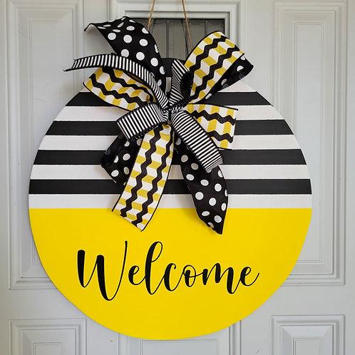 Everyday door hanger, black white yellow door hanger, classic door wreath