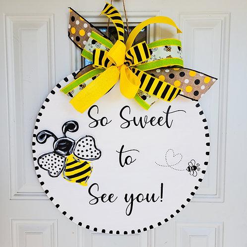 Spring door hanger,  Spring wreath,  bee wreath,  bee door hanger,  summer wreat