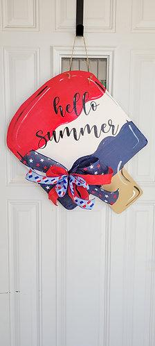 Patriotic wreath,  summertime door hanger,  popsicle door hanger,  summer wreath