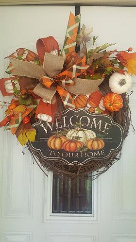 Fall Wreath, Welcome Wreath, Fall front door, Fall Pumpkin Wreath