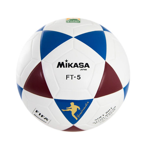 Bola de Futevôlei Oficial Mikasa FT5 - branca, azul e vermelha