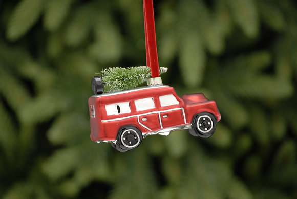 Glass Car With Christmas Tree