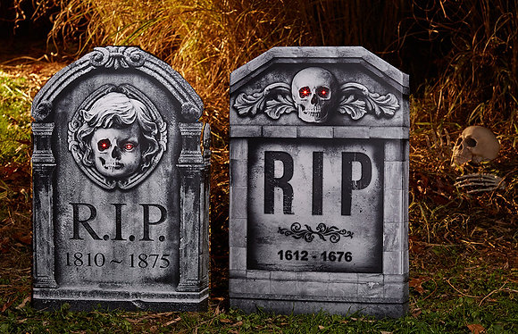 Light Up 3D Stone Effect Tombstone