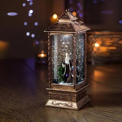 Oblong Lantern Water Spinner with Santa