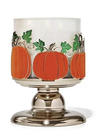 Pumpkins & Leaves Pedestal 3-wick Candle Holder