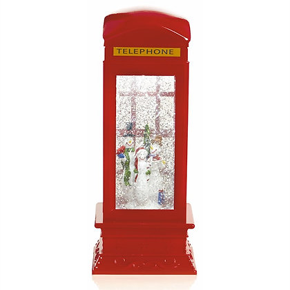 Telephone Box Water Spinner with Snowmen