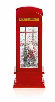 Telephone Box Water Spinner with Santa